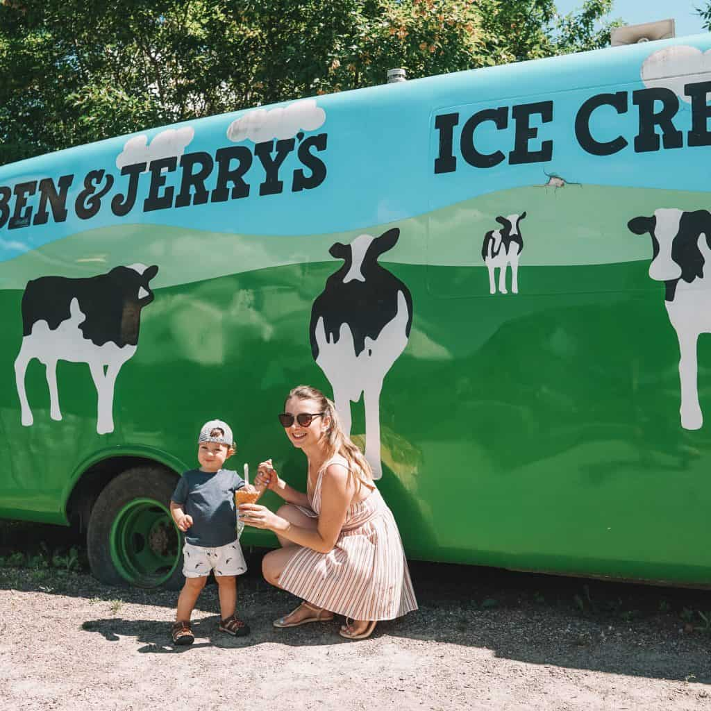 mom and son in Ben & Jerry's Factory. Stove, Vermont