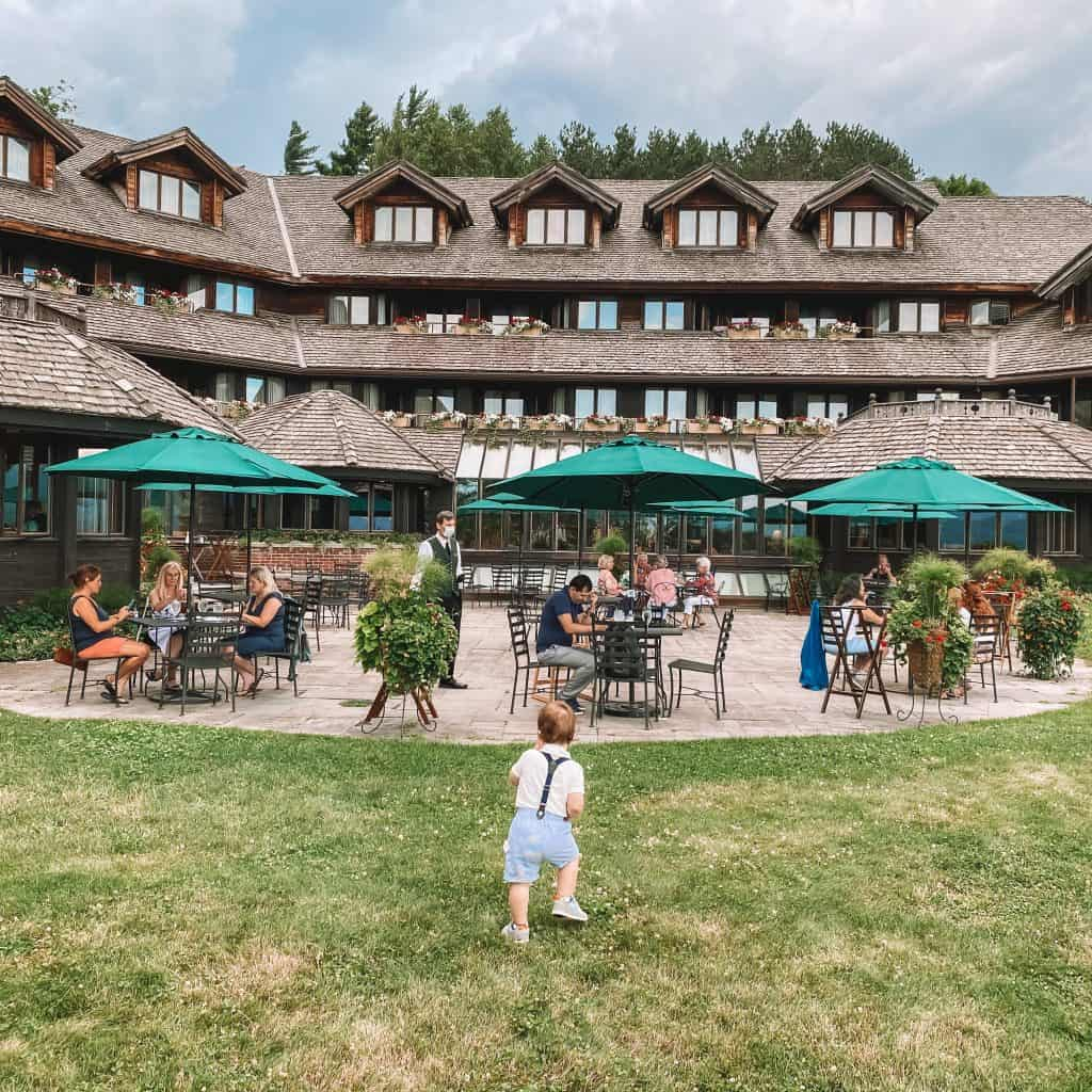 Trapp Family Lodge outdoor patio. Stowe, Vermont