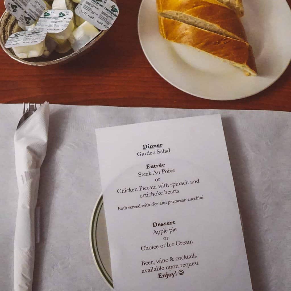meals at Winter Clove Inn menu