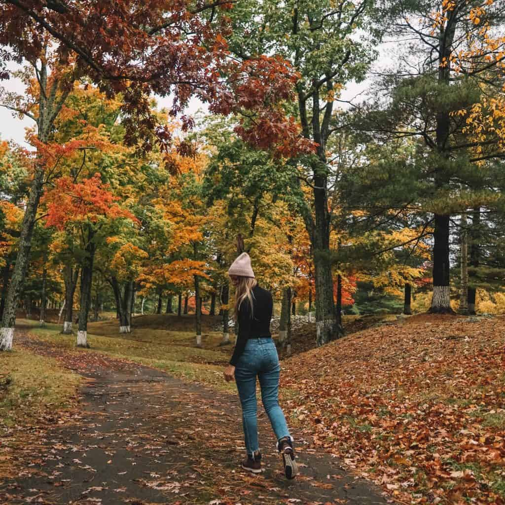 Girl captured in the middle of the road covered with fall colors in Catskills