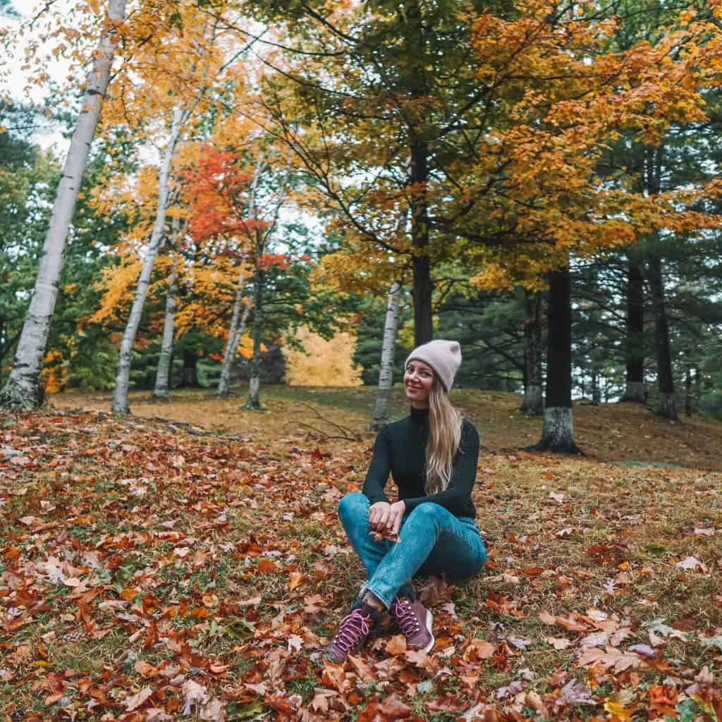 Girl captured during the fall foliage in catskills, NY