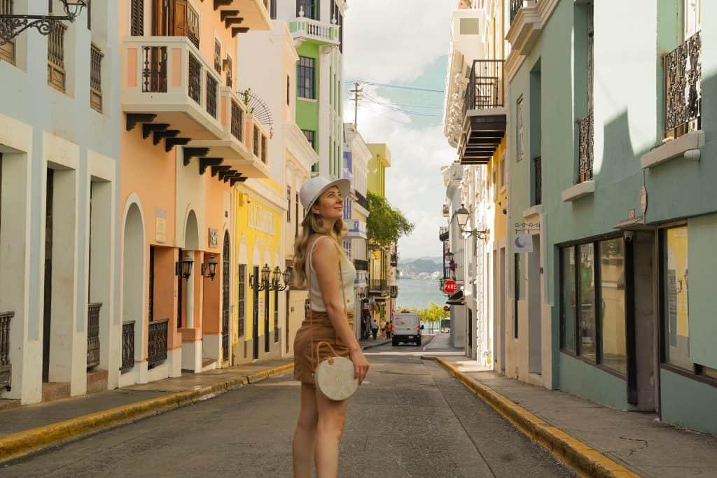 women exploring colorful Old San Juan Streets in Puerto Rico