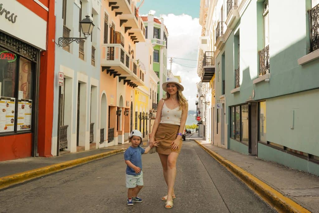 baby and mommy exploring Old San Juan Streets