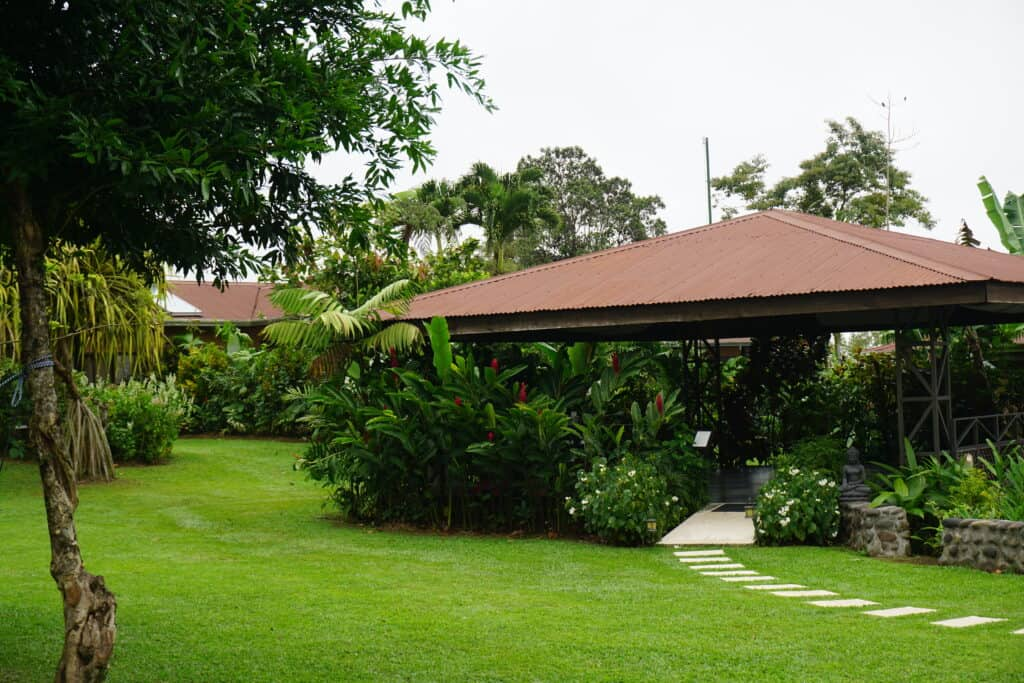 Outdoor yoga studio located at the Arenal Springs Resort and Spa, Costa Rica.