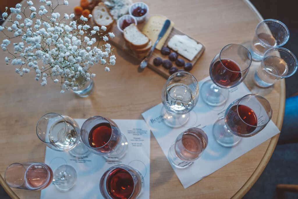 Benmarl Winery Valentone's day cheese board and wines