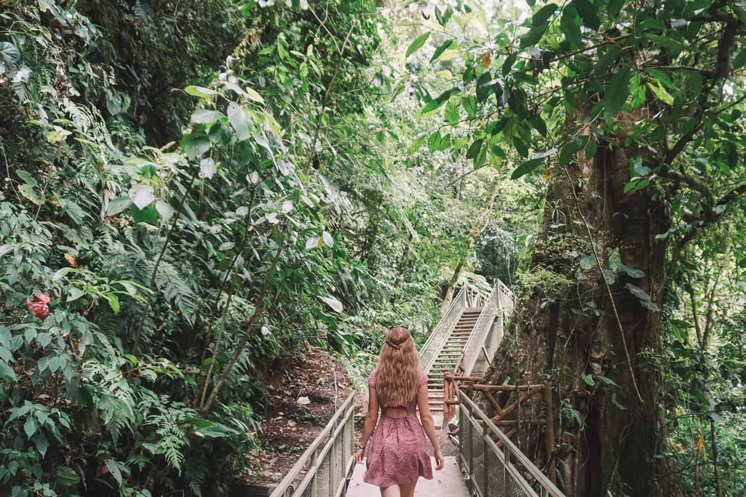 Climbing stairs on the way up from La Fortuna Waterfall in Arenal.