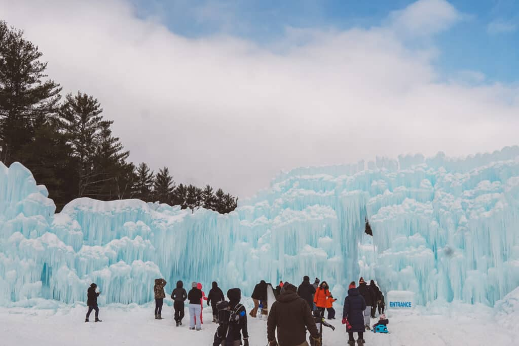 people lined up in the Ice Castles Entrance in Lincoln
