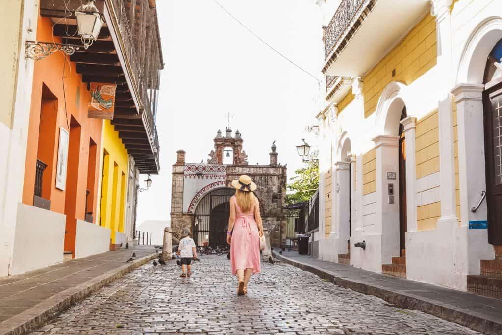 Baby and Mom exploring Old San Juan