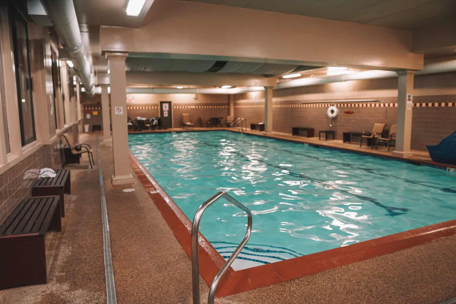 indoor pool in resort near ice castles