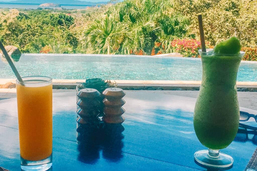 honeymoon drinks with ocean view in costa rica hotel