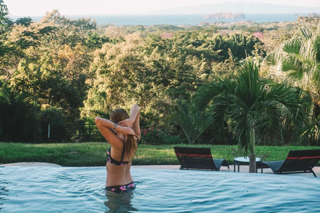 in the pool at villa buena onda